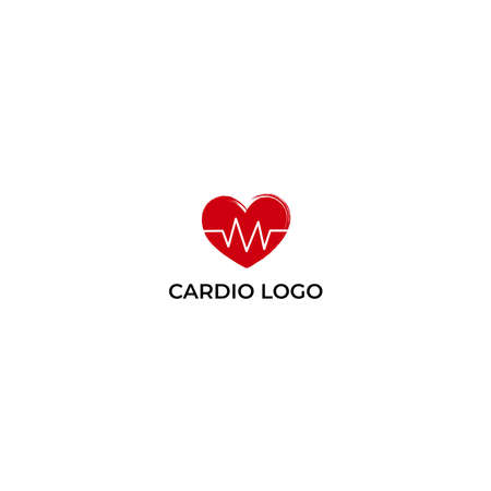 Heart with beat monitor pulse line art icon for medical apps and websites. breathing and alive sign red love heart. Red Medic blood pressure, cardiogram, health EKG, ECG  . Heart in flat style.