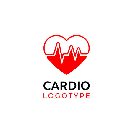 Heart with beat monitor pulse line art icon for medical apps and websites. breathing and alive sign red love heart. Red Medic blood pressure, cardiogram, health EKG, ECG logo. Heart in flat style.