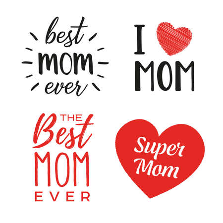 Set of phrases about mom. Mom quotes. Happy Mother Day saying. Happy Mother Day concept. Vector illustration. T shirt design.