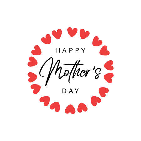 Happy Mother's Day with hearts wreath 일러스트