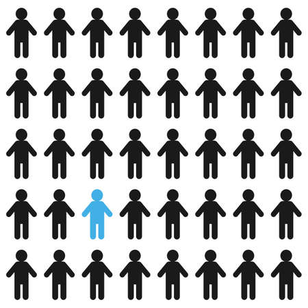 crowd stick figure people with one individual. simple flat trend modern graphic abstract design element isolated on white. conceptual of find leader or infected in society and focus on elected leader