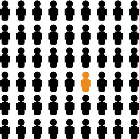 crowd of people with individual stick figure. simple flat trend modern graphic abstract design element isolated on white. conceptual of find leader or infected in society and focus on elected leader 일러스트