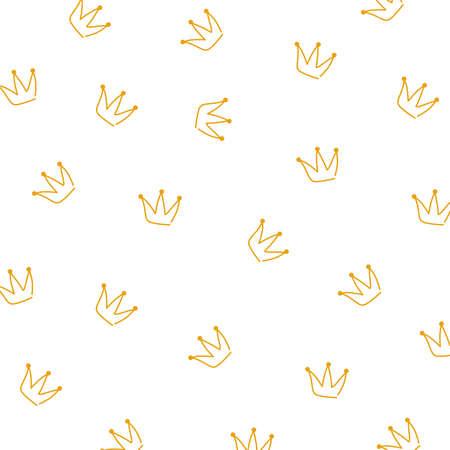 Gold line crown pattern vector 일러스트