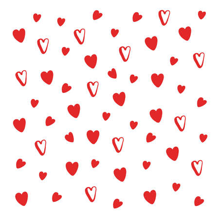 Hand drawn red hearts pattern