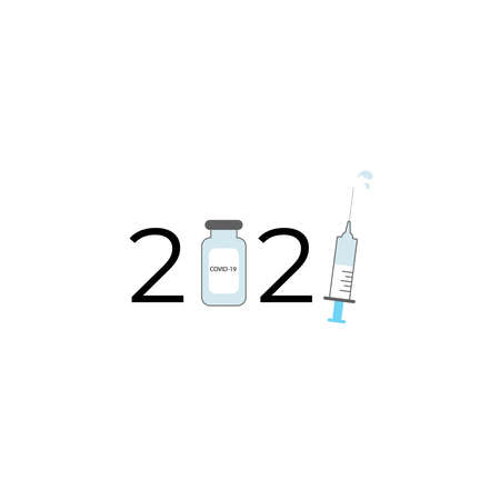 Logo design for the year 2021 with a syringe and a vaccine. A cure for viruses. Coronovirus vaccination. Fighting the epidemic, the end of the pandemic. Vaccine bottle and syringe among numbers.