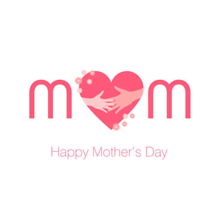 Mom vector calligraphic inscription with heart. Minimalistic hand lettering illustration on Happy Mother's Day. 스톡 콘텐츠 - 168543787