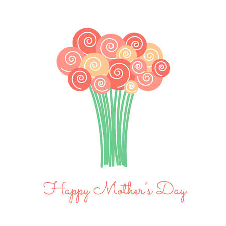 happy mother's day with bouquet 일러스트