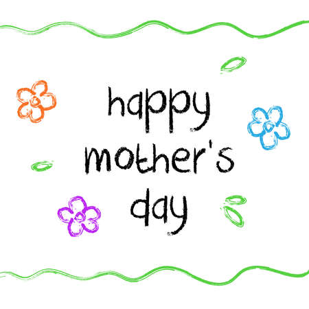 Happy Mother's day illustration with kids style