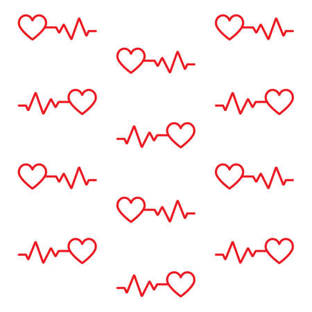 Red hearts cardio seamless pattern