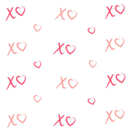 Hand drawn vector seamless pattern with XOXO on red background. Hipster symbols of hugs and kisses. Good for cards, wallpaper, posters, wrapping paper, Valentine's invitations