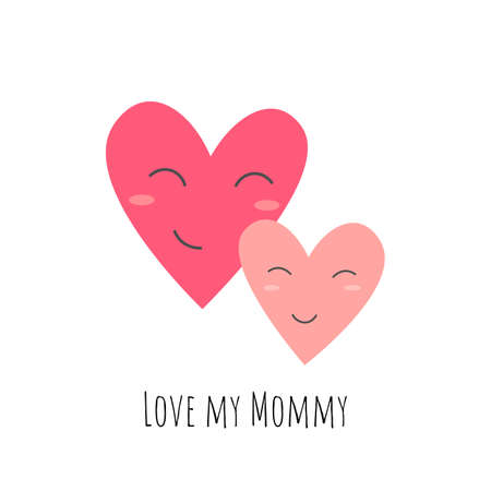 I love my mom. Cartoon hearts, hand drawing lettering. Colorful vector flat style illustration. design for cards, prints, posters, cover