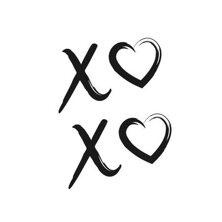 XoXo hand drawn phrase isolate on white background. Kisses sign, icon, logo with red and black heart and cross. Grunge brush lettering XO kiss symbol. Valentine's day greeting card, poster, banner.