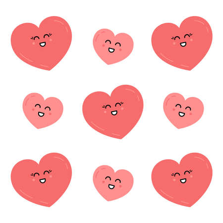 Cute happy heart character pattern vector