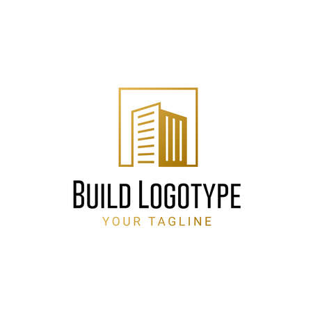 Luxury real estate building gold vector logo template