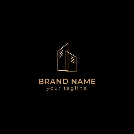 Luxury real estate building gold vector logo template 스톡 콘텐츠 - 168542791