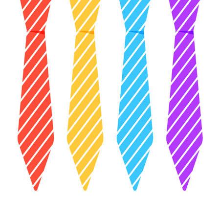 Set of different ties, vector illustration 일러스트