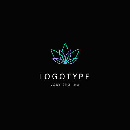 minimal abstract flower logo design template