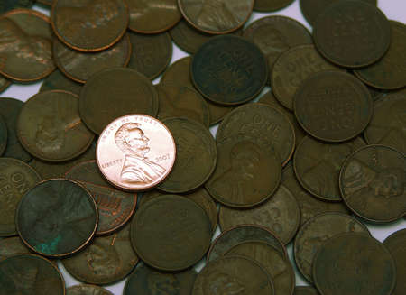 Shiny penny among dull old pennies