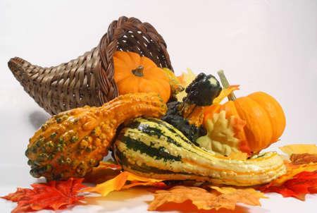 gourds: Cornucopia containing gourds and pumpkins