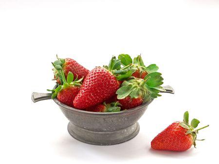 Dish of strawberries Stock Photo