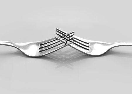 interlocking: Two interlocking forks