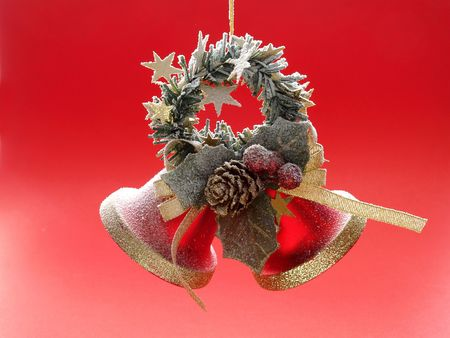 Christmas bells with red background