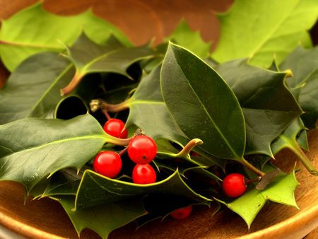 Red berries and holly leaves in a wooden bowl Stock Photo