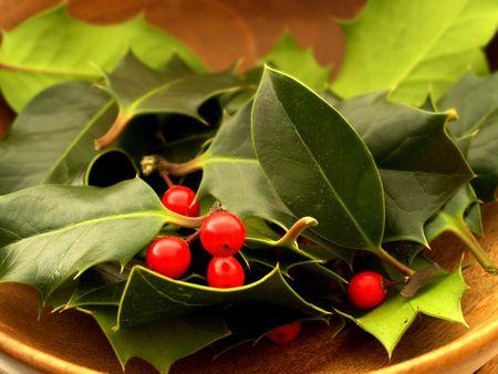 Rote Beeren und Bl�tter Stechpalmen in einem h�lzernen Sch�ssel