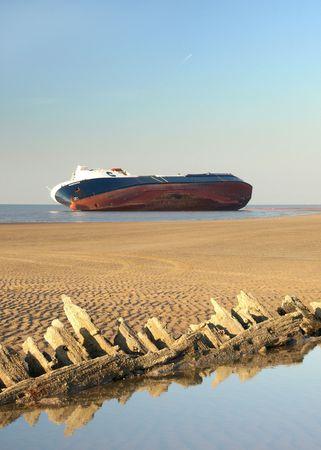 Beached Riverdance cargo ship off Cleveleys,Lancashire Stock Photo