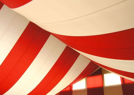 Marquee roof of draped canvas Stock Photo