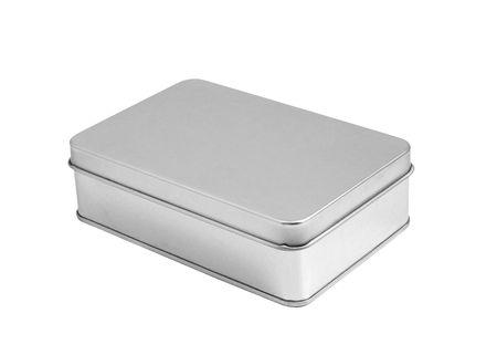 Tin box on white background