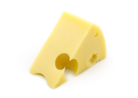Wedge of cheese on white