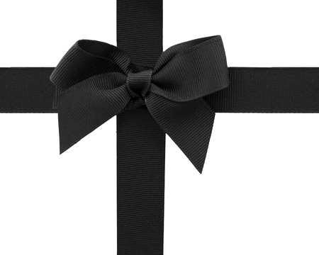 Black ribbon with a bow Stock Photo
