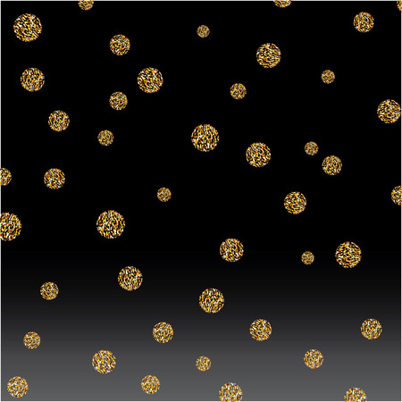 gold textured background: Vector abstract gold spot glitter textured circles gradation black background