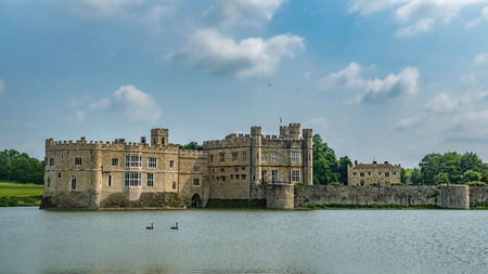 View of a medieval moated castle in England Editorial