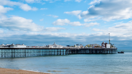 brighton: View of the victorian Brighton pier on a beautiful evening in spring