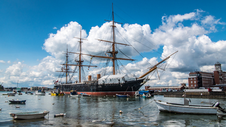 View of an historic Victorian armoured frigate battleship in Portsmouth harbour Stock Photo