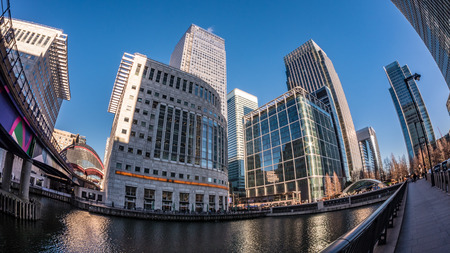 Fish eye view of the financial district of the Docklands in London