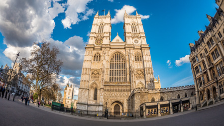 Fish eye view of Westminster abbey in London, north facade