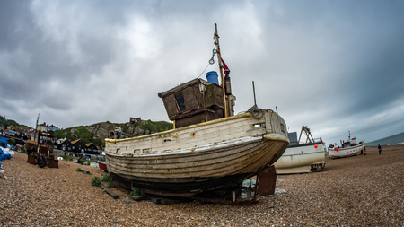 Fish eye view of fishing boats on the beach at Hastings, England Stock Photo