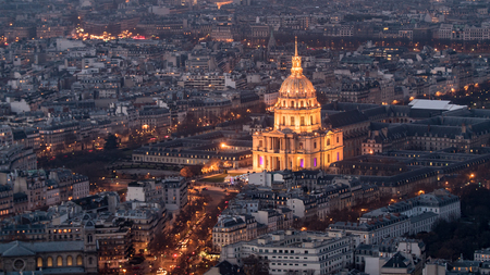 Aerial view of the Hotel des Invalides in Paris at night with artificial light