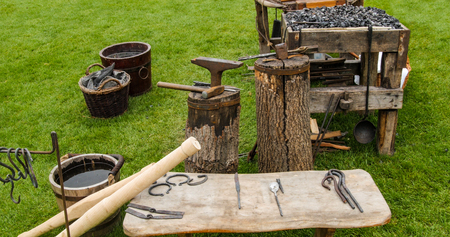 medieval blacksmith: View of medieval blacksmith tools