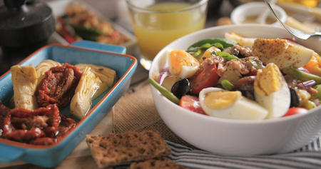 Close up view of a fresh, healthy, organic nicoise salad