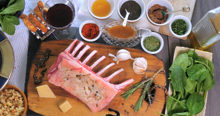 Top down view of ingredients for minted rack of lamb