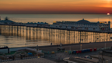 brighton: View of a sunset on the pier in Brighton