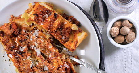 healty: Top down view of delicious steamy lasagne in bolognese sauce (pasta) Stock Photo