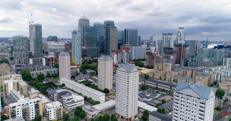 Aerial view of the financial district of the Docklands in London