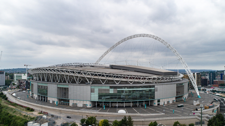 wembley: Aerial view of a football stadium in North London
