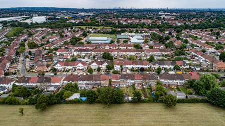 Aerial view of suburban areas in North London (Wembley)