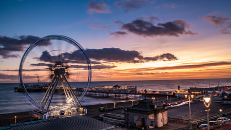 The Victorian Brighton Pier and the Brighton wheel at night Editorial